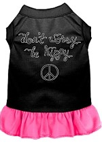 Be Hippy Screen Print Dog Dress Black with Bright Pink XS (8)