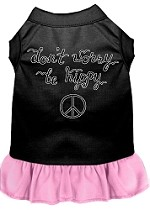 Be Hippy Screen Print Dog Dress Black with Light Pink XS (8)