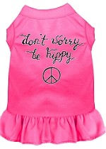 Be Hippy Screen Print Dog Dress Bright Pink Med (12)