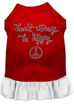Be Hippy Screen Print Dog Dress Red with White XS (8)