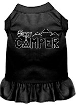 Happy Camper Screen Print Dog Dress Black XS (8)