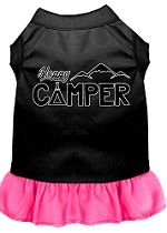 Happy Camper Screen Print Dog Dress Black with Bright Pink XS (8)