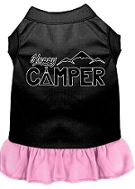 Happy Camper Screen Print Dog Dress Black with Light Pink XS (8)