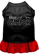 Happy Camper Screen Print Dog Dress Black with Red XS (8)