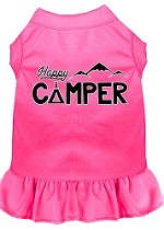 Happy Camper Screen Print Dog Dress Bright Pink XS (8)