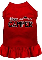 Happy Camper Screen Print Dog Dress Red XS (8)