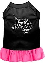 Born to be a Unicorn Screen Print Dog Dress Black with Bright Pink XS
