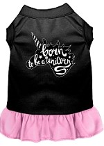 Born to be a Unicorn Screen Print Dog Dress Black with Light Pink XS