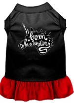 Born to be a Unicorn Screen Print Dog Dress Black with Red XS