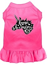 Born to be a Unicorn Screen Print Dog Dress Bright Pink Med