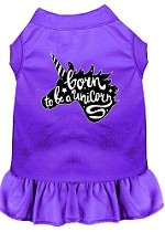 Born to be a Unicorn Screen Print Dog Dress Purple Med