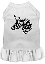 Born to be a Unicorn Screen Print Dog Dress White Med