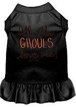 All the Ghouls Screen Print Dog Dress Black XS