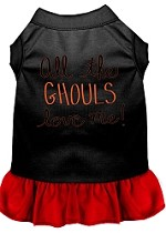 All the Ghouls Screen Print Dog Dress Black with Red XS