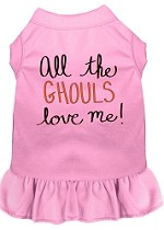 All the Ghouls Screen Print Dog Dress Light Pink XS