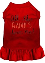 All the Ghouls Screen Print Dog Dress Red XS