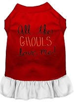 All the Ghouls Screen Print Dog Dress Red with White XS