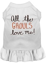 All the Ghouls Screen Print Dog Dress White XS