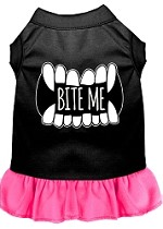 Bite Me Screen Print Dog Dress Black with Bright Pink XS