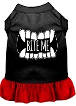 Bite Me Screen Print Dog Dress Black with Red XS