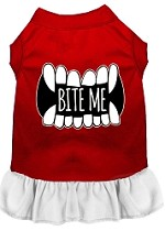Bite Me Screen Print Dog Dress Red with White XS