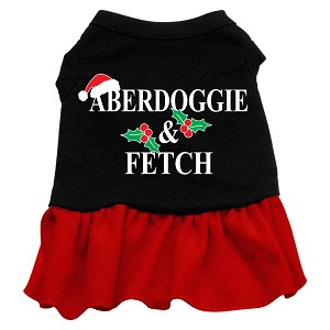 Aberdoggie Christmas Screen Print Dress Black with Red Med (12)