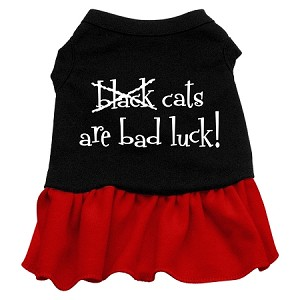 Black Cats are Bad Luck Screen Print Dress Black with Red XL (16)
