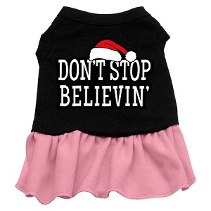 Don't Stop Believin' Screen Print Dress Black with Light Pink XS (8)