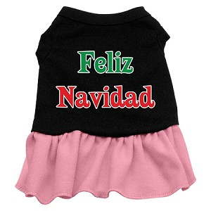 Feliz Navidad Screen Print Dress Black with Light Pink XS (8)