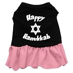 Happy Hanukkah Screen Print Dress Black with Light Pink XS