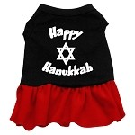 Happy Hanukkah Screen Print Dress Black with Red XS