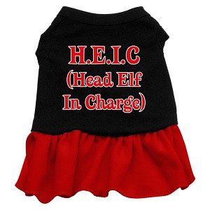 Head Elf in Charge Screen Print Dress Black with Red XS (8)