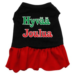 Hyvaa Joulua Screen Print Dress Black with Red XXXL (20)