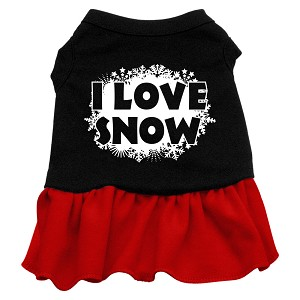I Love Snow Screen Print Dress Black with Red Sm (10)
