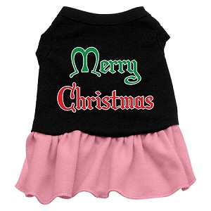 Merry Christmas Screen Print Dress Black with Light Pink XS (8)