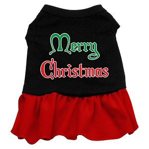 Merry Christmas Screen Print Dress Black with Red Med (12)