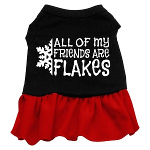 All my friends are Flakes Screen Print Dress Black with Red Sm (10)