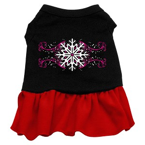 Pink Snowflake Screen Print Dress Black with Red XL (16)