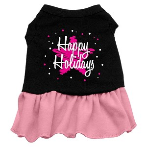 Scribble Happy Holidays Screen Print Dress Black with Light Pink Med (12)