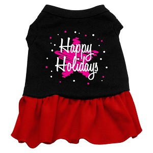 Scribble Happy Holidays Screen Print Dress Black with Red Med (12)
