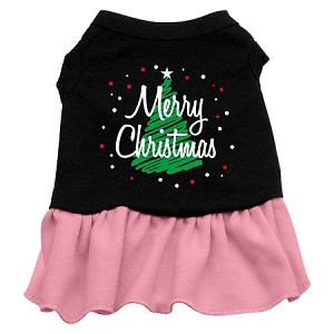 Scribble Merry Christmas Screen Print Dress Black with Light Pink Sm (10)