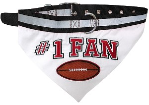 Football Bandana Dog Collar Black Small