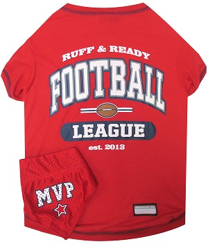 Football Pet Shirt with Bandana Red Medium