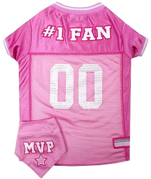 Football Pet Jersey and Bandana Combo Pink XS