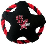 Hockey Plush Squeaky Disc Dog Toy Black