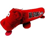 Hockey Plush Squeaky Tube Dog Toy Red