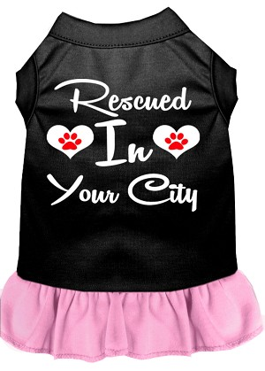 Rescued in San Diego Screen Print Souvenir Dog Dress Black with Light Pink XXXL