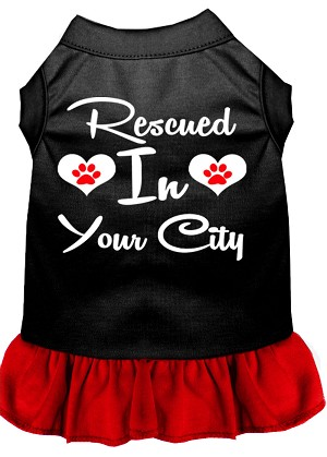 Rescued in San Diego Screen Print Souvenir Dog Dress Black with Red Lg