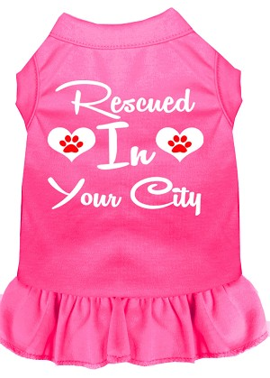 Rescued in San Diego Screen Print Souvenir Dog Dress Bright Pink Sm