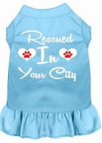 Rescued in Washington D.C. Screen Print Souvenir Dog Dress Baby Blue XS